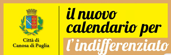 calendario per l'indifferenziato